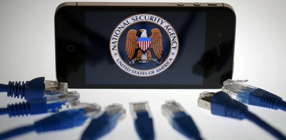 PHOTO: The logo of the National Security Agency is displayed on an iPhone in Berlin, June 7, 2013.