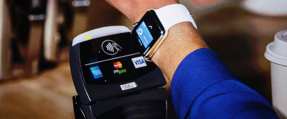 PHOTO: An Apple Watch is shown making a tap transaction during an Apple event at the Flint Center in Cupertino, Calif., Sept. 9, 2014.
