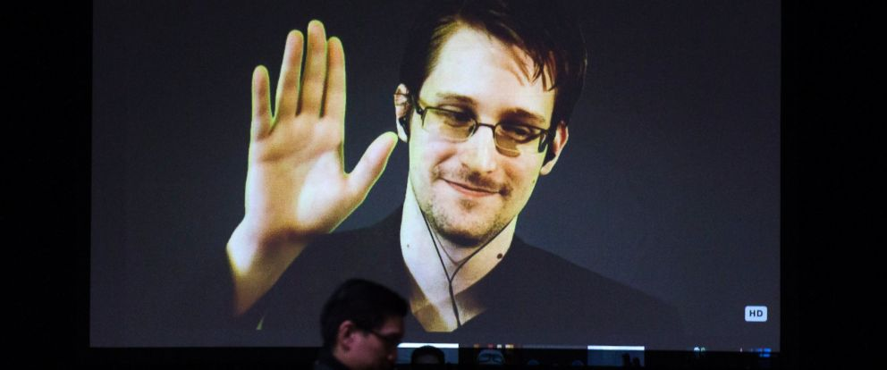 PHOTO: Former U.S. National Security Agency contractor Edward Snowden appears live via video during a student organized world affairs conference at the Upper Canada College private high school in Toronto on Feb. 2, 2015.