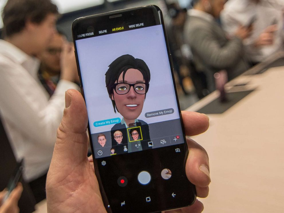 PHOTO: Attendees of Mobile World Congress 2018 are seen creating AR Emojis on the new Samsung Galaxy S9 on Feb. 26, 2018 in Barcelona.
