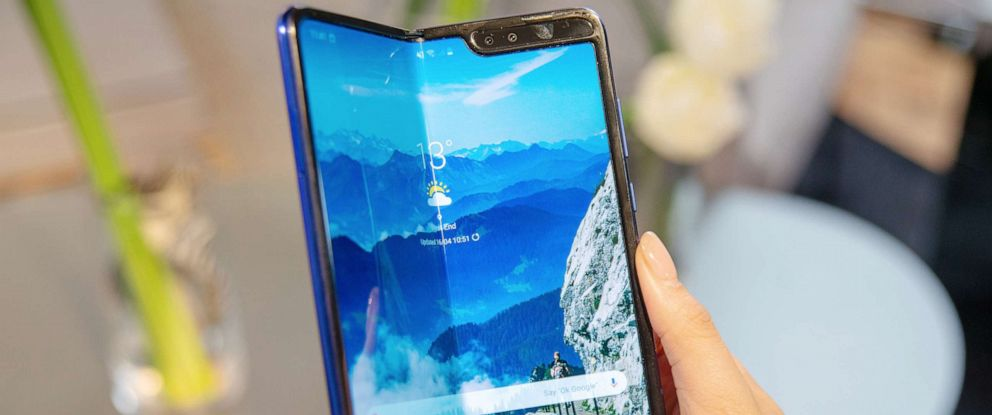 PHOTO: A production model of the Samsung Galaxy Fold Tablet smartphone can be seen at a presentation in London, April 16, 2019.