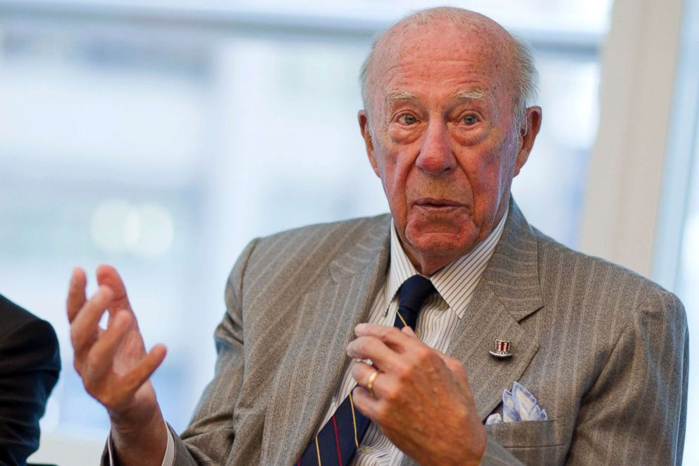 PHOTO: George Shultz, former U.S. treasury secretary and former U.S. secretary of state, speaks during an interview in New York, Sept. 19, 2011.