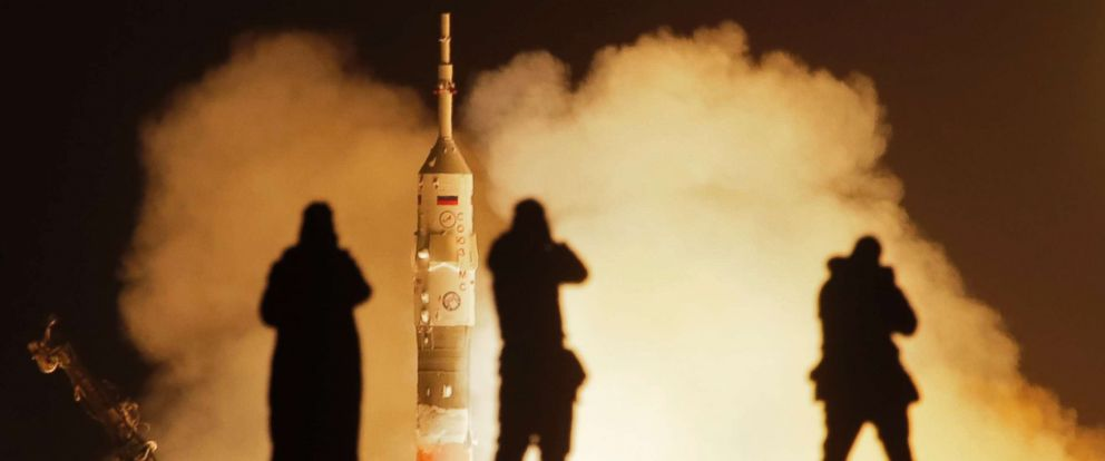 PHOTO: The Soyuz-FG rocket booster with Soyuz MS-08 space ship launches a new crew to the International Space Station at the Russian leased Baikonur cosmodrome, Kazakhstan, March 21, 2018.