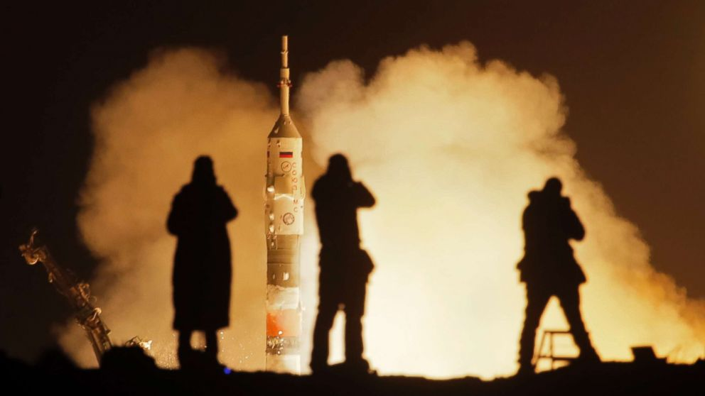 The Soyuz-FG rocket booster with Soyuz MS-08 space ship launches a new crew to the International Space Station at the Russian leased Baikonur cosmodrome, Kazakhstan, March 21, 2018.