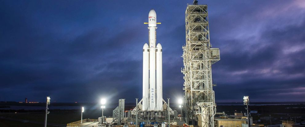 PHOTO: This Dec. 28, 2017 photo shows a Falcon Heavy rocket in Cape Canaveral, Fla.