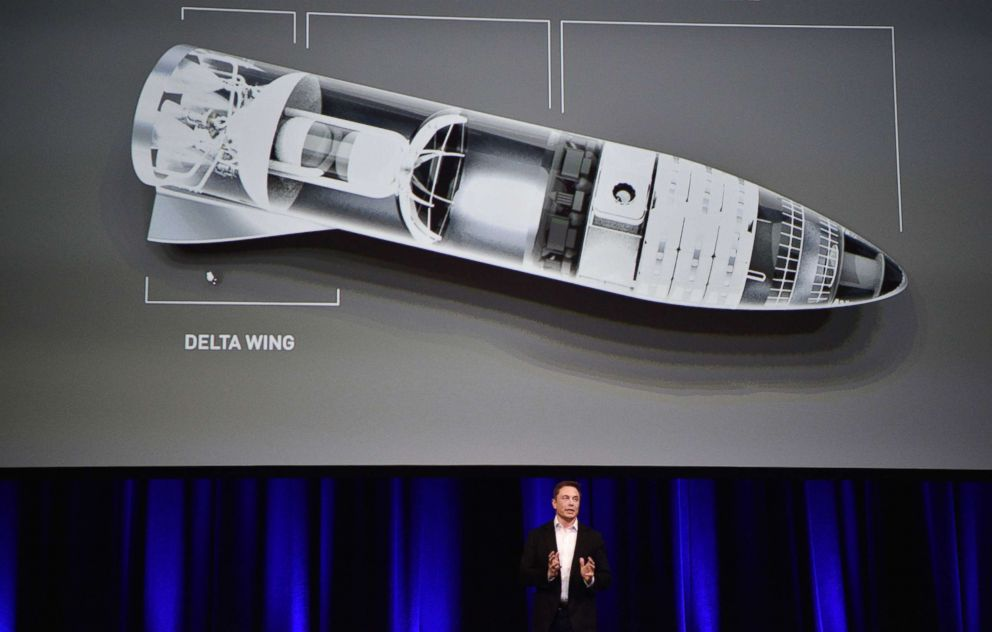 PHOTO: In this file photo taken on Sept. 28, 2017, Billionaire entrepreneur and founder of SpaceX Elon Musk speaks below a computer generated illustration of his new rocket at the 68th International Astronautical Congress 2017 in Adelaide, Australia.
