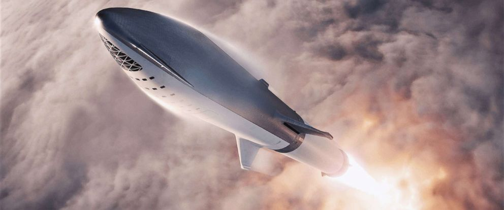 PHOTO: This artists illustration courtesy of SpaceX obtained Sept. 17, 2018, shows the SpaceX BFR(Big Falcon Rocket) passenger spacecraft.