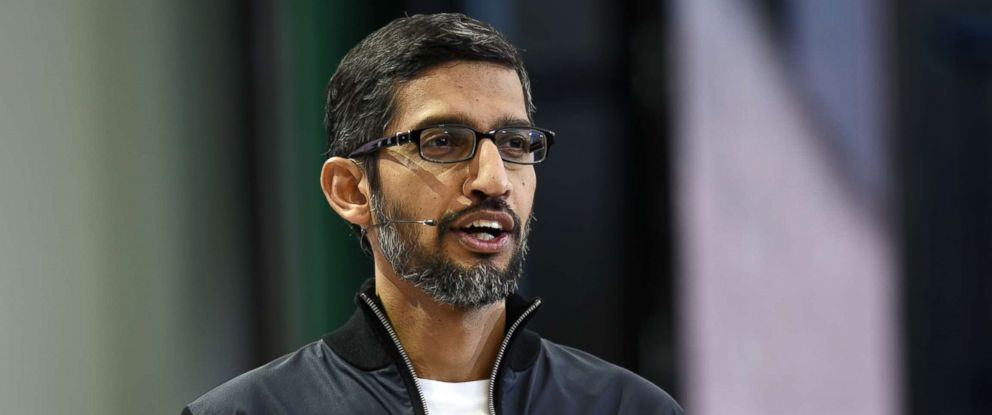 PHOTO: Sundar Pichai, chief executive officer of Google Inc., speaks during a developers conference in Mountain View, Calif., May 17, 2017.