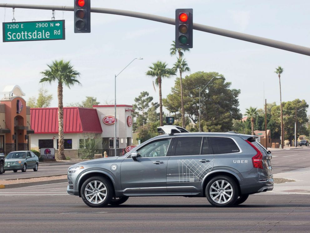PHOTO: A self driving Volvo vehicle owned by Uber moves through an intersection in Scottsdale, Ariz., Dec. 1, 2017.
