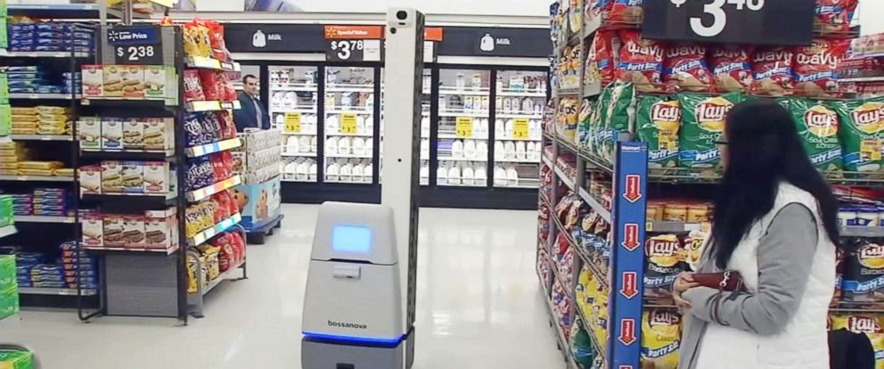 PHOTO: Walmart is using robots made by manufacturer Bossanova to track inventory in some stores, like this California location.