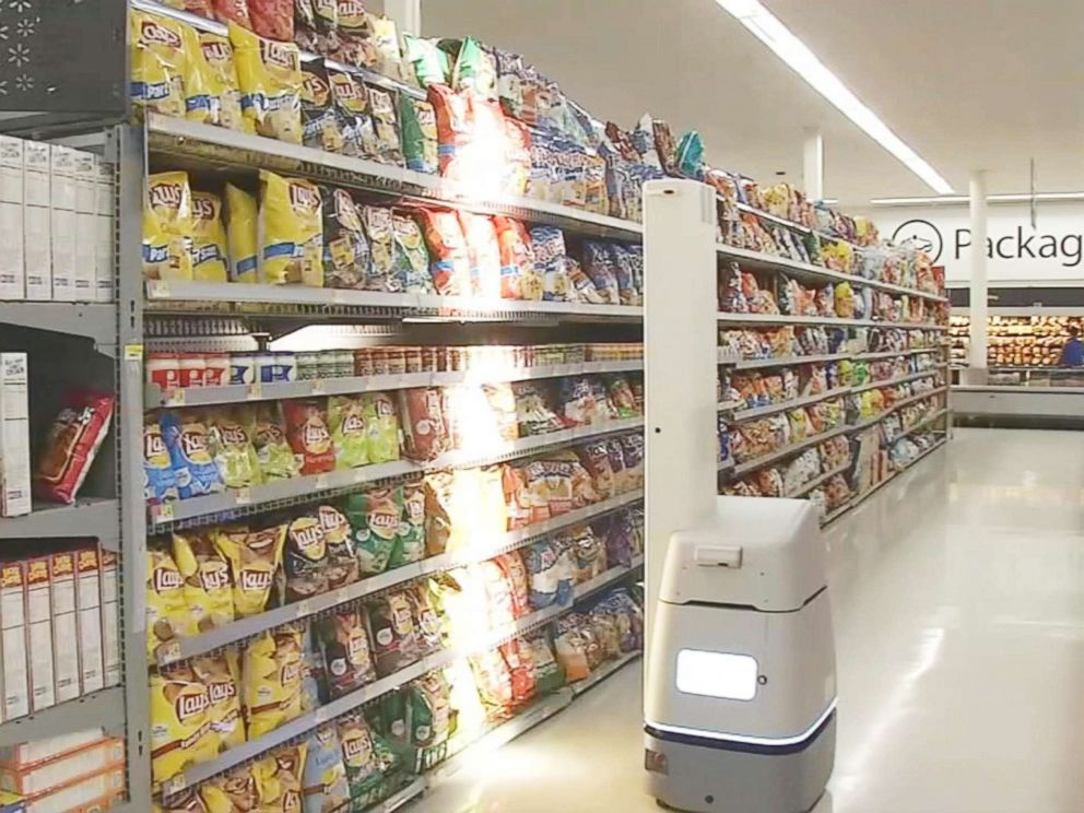 PHOTO: Robots that are made by manufacturer Bossanova can monitor out-of-stock and low stock items by scanning price tags in this California Walmart store.