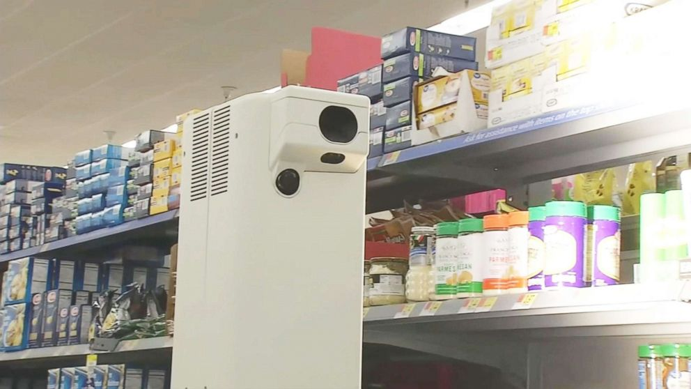 Robots that are made by manufacturer Bossanova can monitor out-of-stock and low stock items by scanning price tags in this California Walmart store.