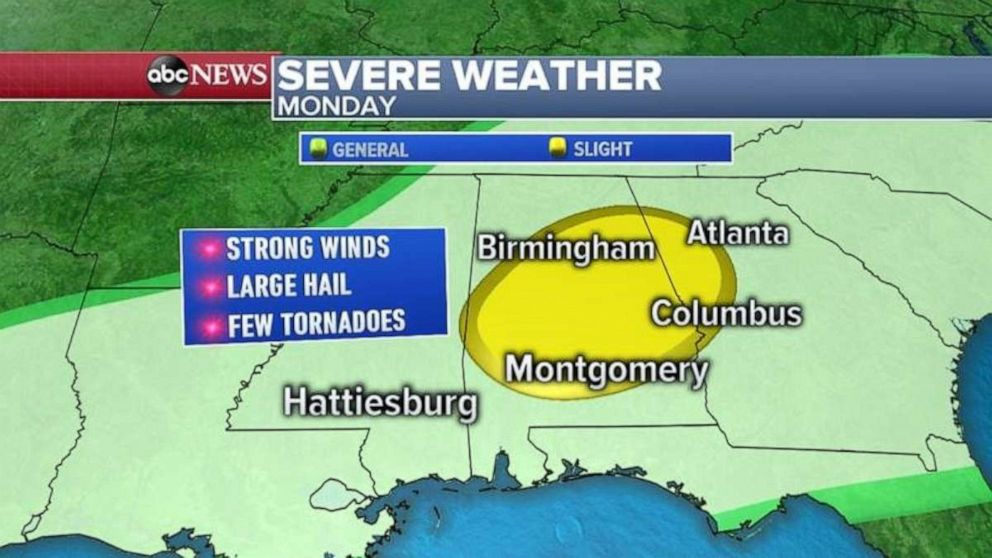Severe weather is heading for the Southeast today.