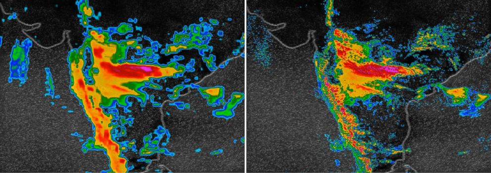 PHOTO: Two images of an August 2018 monsoon in India: At left, a weather model operating at 13-kilometer resolution. At right, the new IBM Global High-Resolution Atmospheric Forecasting System, which operates at 3-km resolution and updates more often.
