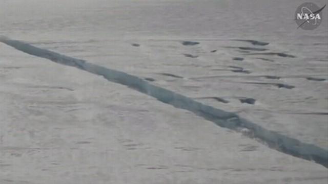 VIDEO: NASAs IceBridge team finds 18 mile fissure in Antarcticas Pine Island Glacier.