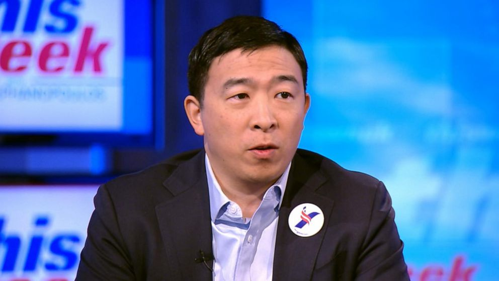 Presidential hopeful Andrew Yang targets automation at rain-drenched NYC rally