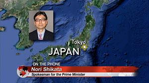 PHOTO Christiane Amanpour interviews the spokesman to the Japanese Prime Minister, Nori Shikata.