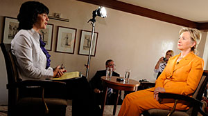 Photo: Christiane Amanpour interviews Hillary Clinton