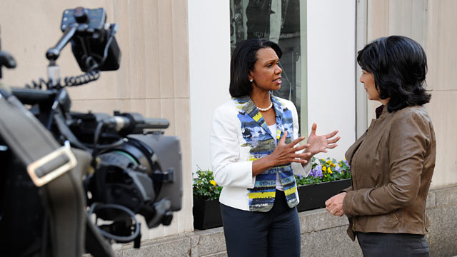 "PHOTO: Shortly after the death of Osama bin Laden, Condoleezza Rice is interviewed by ""This Week"" anchor Christiane Amanpour."