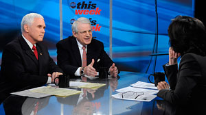"PHOTO: Rep. Mike Pence and David Stockman appear on ""This Week with Christiane Amanpour."""