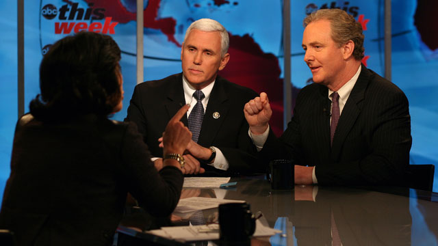 PHOTO Rep. Mike Pence and Rep. Chris Van Hollen debate the federal budget on This Week.