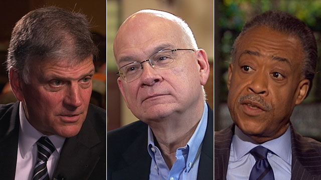 """PHOTO:Rev. Franklin Graham, Pastor Tim Keller and Rev. Al Sharpton appear on """"This Week"""" to discuss God and government."""