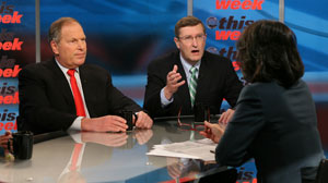 "PHOTO: Honeywell International CEO and Sen. Kent Conrad appear on ""This Week with Christiane Amanpour."""