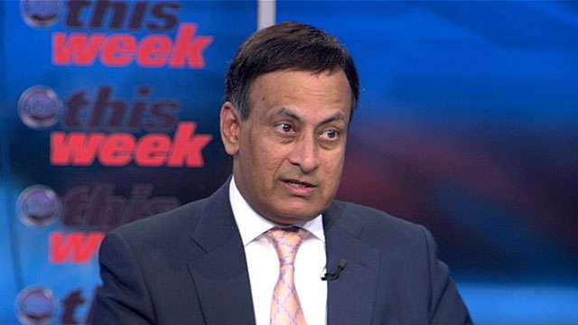 "PHOTO: Pakistans Ambassador to the United States, Husain Haqqani, appears on ""This Week with Christiane Amanpour."""