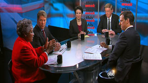 "PHOTO Jake Tapper speaks George Will, ABC News political director Amy Walter, from the National Journal, Major Garrett, and Democratic consultant Donna Brazile on ""This Week"" Sunday, January 2, 2011."