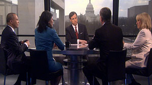 "PHOTO Four governors joined in round-table discussion with ABC News Jake Tapper on ""This Week"" Gov. Jan Brewer: Government Is a Necessary Evil"