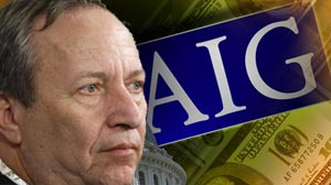 PHOTO President Barack Obamas chief economics adviser Lawrence Summers commented on insurance giant American International Groups plan to award senior executives hundreds of millions of dollars in bonuses and retention pay.