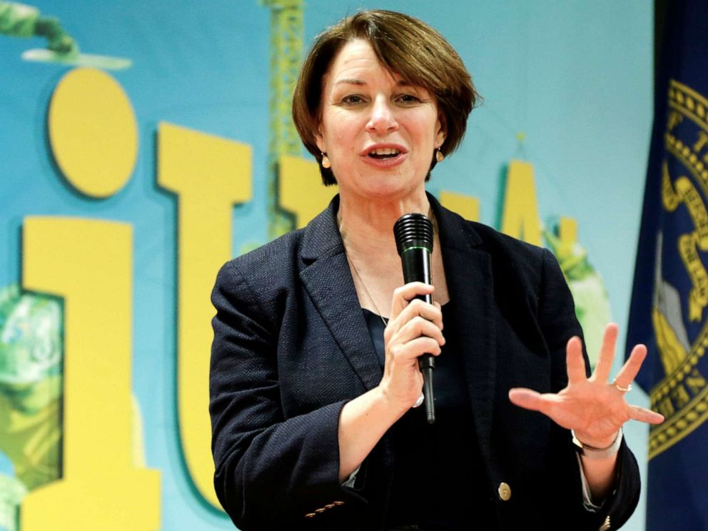 PHOTO: Democratic presidential candidate Sen. Amy Klobuchar speaks during a campaign stop in Omaha, Neb., March 29, 2019.