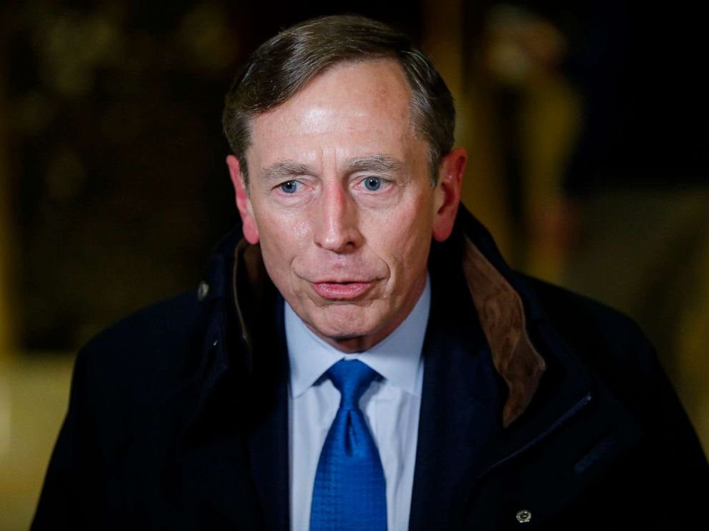 PHOTO: Ret. General and former CIA Director, David Petraeus leaves after meetings with President-elect Donald Trump on Nov. 28, 2016, at Trump Tower in New York.