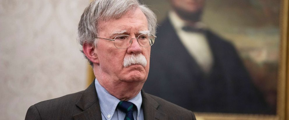 PHOTO: National Security Adviser John Bolton looks on an event in the Oval Office of the White House, in Washington, D.C., Feb. 19, 2019.