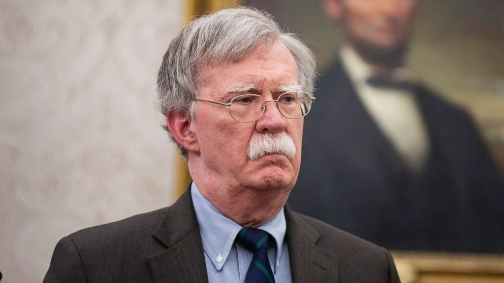 National Security Adviser John Bolton looks on an event in the Oval Office of the White House, in Washington, D.C., Feb. 19, 2019.