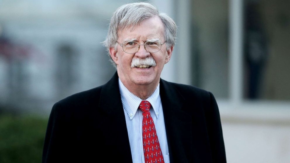 U.S. National Security Adviser John Bolton walks to an interview outside the White House in Washington, March 5, 2019.