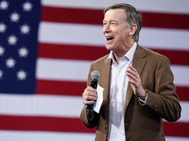 PHOTO:Democratic presidential candidate former Colorado Gov. John Hickenlooper speaks at an event on April 27, 2019, in Las Vegas.