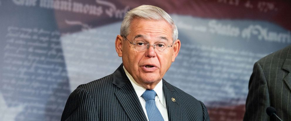 PHOTO: U.S. Senator Bob Menendez speaks during a press conference to advocate for the Save Our Seas 2.0 Act at the US Capitol in Washington, DC.
