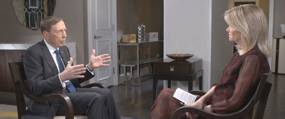"PHOTO: Chief Global Affairs Correspondent Martha Raddatz interviews former CIA Director Gen. David Petraeus on ""This Week."""