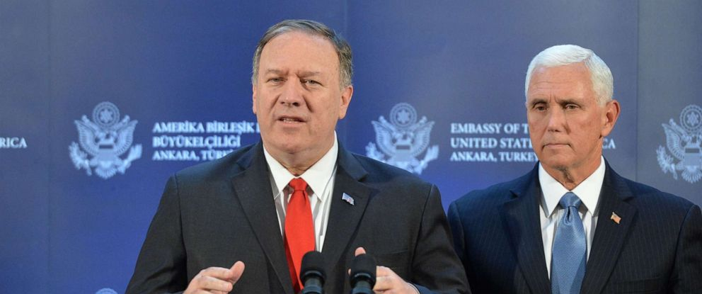 PHOTO: US Vice President Mike Pence (R) and US Secretary of State Mike Pompeo (L) attend a press conference after meeting with Turkish President Recep Tayyip Erdogan, in Ankara, Turkey, 17 October 2019.