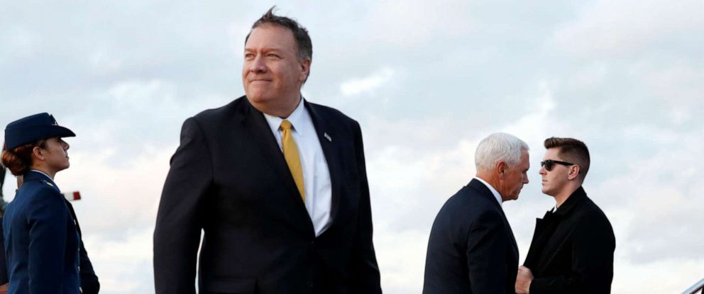 PHOTO: Vice President Mike Pence and Secretary of State Mike Pompeo board their separate planes as they arrive at Andrews Air Force Base, Md., Wednesday, Oct. 16, 2019, as they depart en route to Turkey.