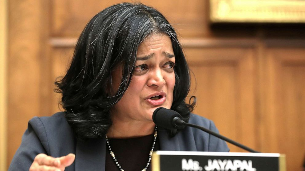 Rep. Pramila Jayapal questions witnesses during a hearing of the House Judiciary Committee's Antitrust, Commercial and Administrative Law Subcommittee on Capitol Hill on March 12, 2019, in Washington, D.C.