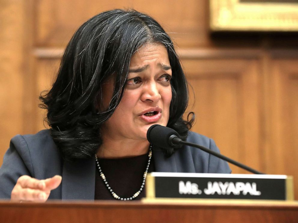 PHOTO: Rep. Pramila Jayapal questions witnesses during a hearing of the House Judiciary Committees Antitrust, Commercial and Administrative Law Subcommittee on Capitol Hill on March 12, 2019, in Washington, D.C.