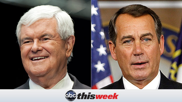 PHOTO: Gingrich and Boehner on This Week