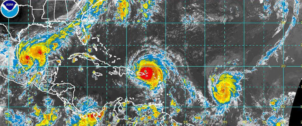 PHOTO: An image released by NOAA on Sept. 6, 2017, shows Hurricanes Katia, Irma and Jose.