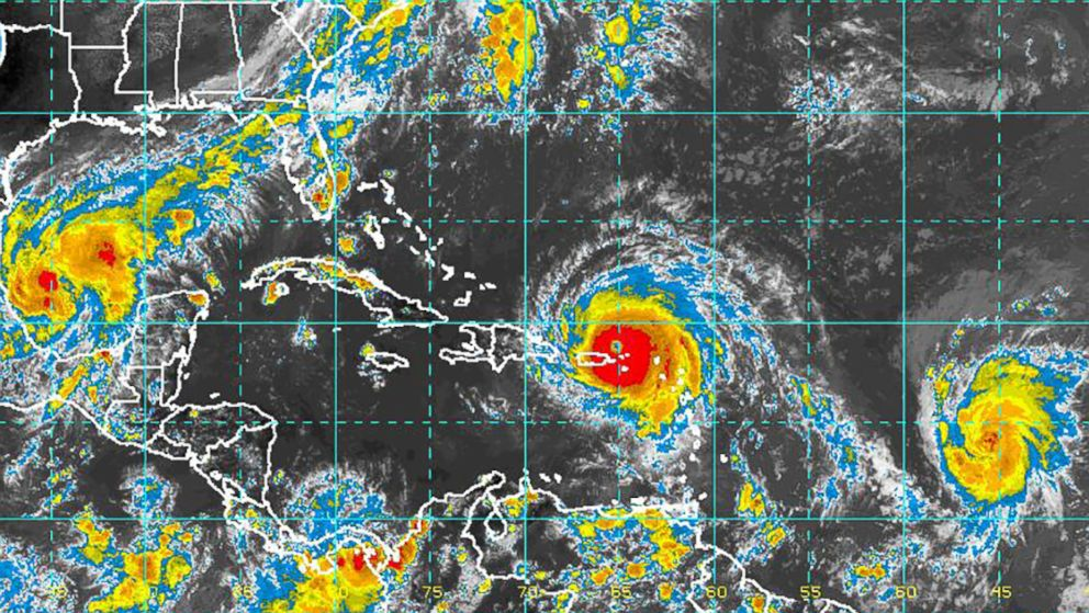 An image released by NOAA on Sept. 6, 2017, shows Hurricanes Katia, Irma and Jose.