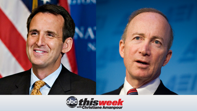 PHOTO:Pawlenty (R-MN) on the left and Gov. Mitch Daniels