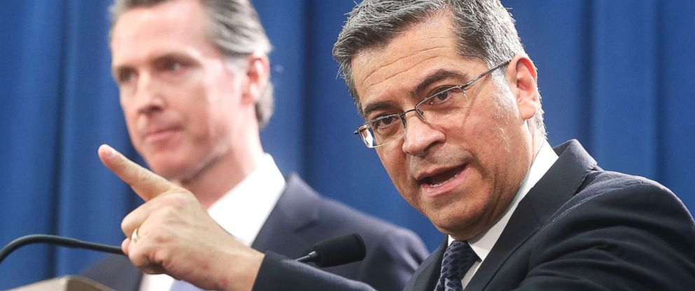 PHOTO: California Attorney General Xavier Becerra, right, said California will probably sue President Donald Trump over his emergency declaration to fund a wall on the U.S.-Mexico border in Sacramento, Calif. Feb. 15, 2019.
