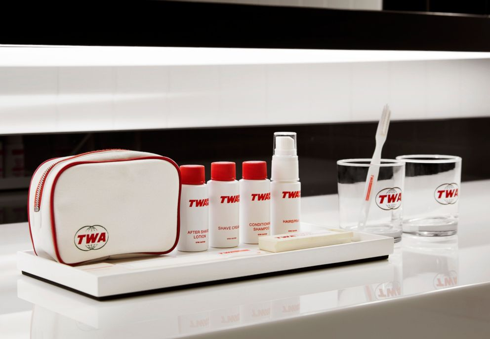 PHOTO: Guests will enjoy a full lineup of TWA Hotel grooming essentials. (The items shown are part of an authentic toiletries kit that will be on display in the TWA Hotel museum.