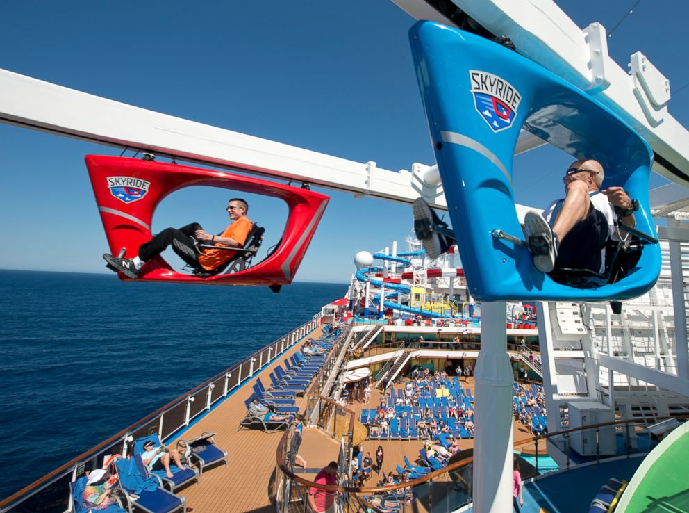 PHOTO: Guests aboard the Carnival Horizon pedal a SkyRide vehicle around much of the 133,500-ton cruise liner.